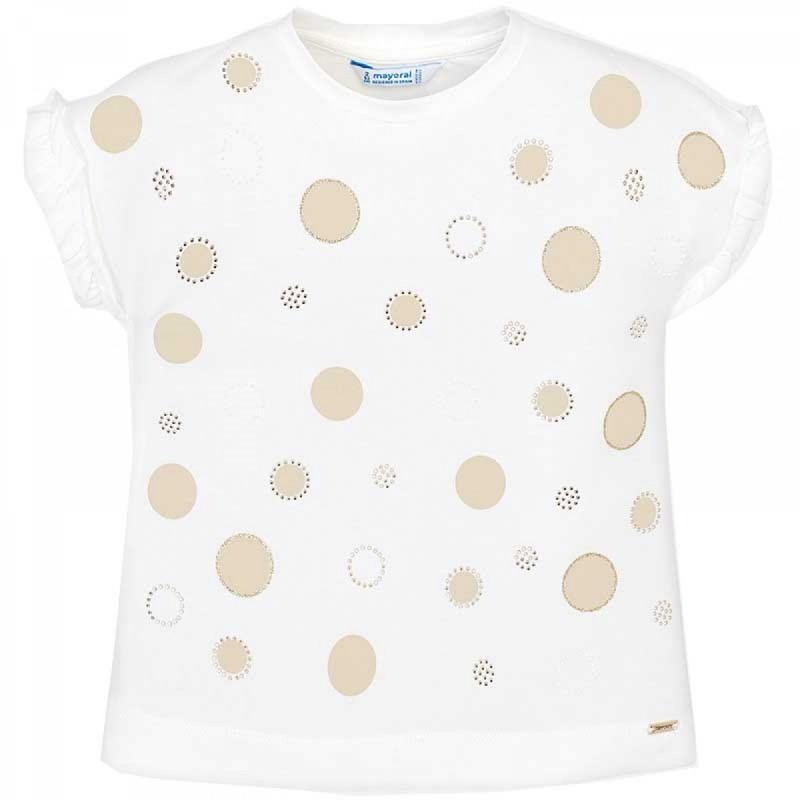 87d2f7bdcc1c Παιδική μπλούζα κοντομάνικη με λεπτομέρειες βολάν για κορίτσι. Απαλό  βαμβακερό ελαστικό ύφασμα. Διακοσμητικές λεπτομέρειες  Γκλίτερ
