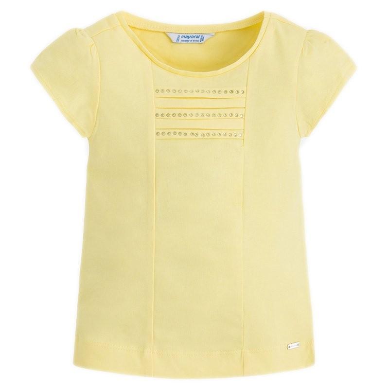 898f01896ab8 Παιδική μπλούζα κοντομάνικη για κορίτσι. Στρογγυλεμένος γιακάς. Με κλασικό  σχέδιο